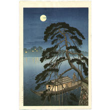 古峰: Unknown night boat scene - Japanese Art Open Database
