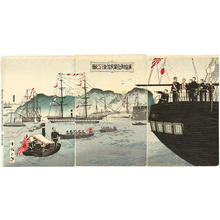 Kokunimasa Utagawa: Departure of the Emperors boat after visiting the fleet in Hiroshima Harbor- Sino war - Japanese Art Open Database
