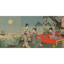 Kokunimasa Utagawa: Full-Moon View of Hinkai Sea — 品海眺望之圖 - Japanese Art Open Database