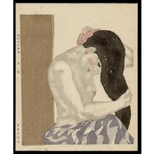 恩地孝四郎: Washing her Hair - Japanese Art Open Database