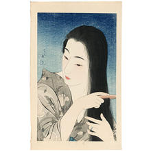 鳥居言人: Combing the Hair (Kamisuki) — 髪梳き - Japanese Art Open Database