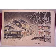 Kotozuka Eiichi: EVENING SNOW AT KIYAMACHI - Japanese Art Open Database