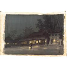 Kotozuka Eiichi: Night Rain in Kyoto- watercolour - Japanese Art Open Database