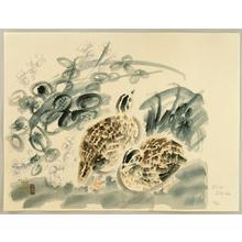 Kotozuka Eiichi: Quails and Bush Clover - Japanese Art Open Database