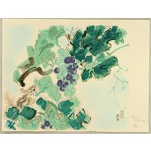 Kotozuka Eiichi: Squirrel and grapes - Japanese Art Open Database