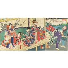 歌川国明: Colour of Spring, lion dance at the mansion - Japanese Art Open Database