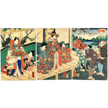 Utagawa Kuniaki: Colour of Spring, lion dance at the mansion - Japanese Art Open Database