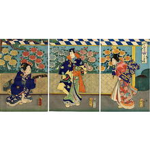 Utagawa Kuniaki: Edo Murasaki Kikuzakari (Chrysanthemum Display) - Japanese Art Open Database