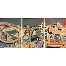 Utagawa Kunisada: Fireworks at Ryogoku Bridge - Japanese Art Open Database