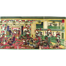 Kuniteru 2 Yamada: Picture of the upper rooms of the Shinagawa-ya house in Shin-Yoshiwara — Shinagawa-ya rojo no zu Shin-Yoshiwara - Japanese Art Open Database