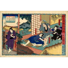 Utagawa Kuniyoshi: Three actors in their roles pauses to look at another actor - Japanese Art Open Database