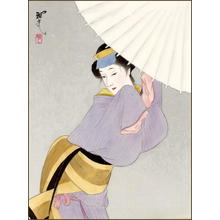 Masamitsu Ohta: Bijin in the Snow- silk painting - Japanese Art Open Database