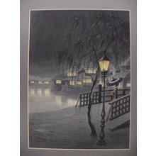 Matsu M: Village at night in winter - Japanese Art Open Database