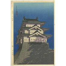 勝川春潮: Hirosaki Castle under the Moon - Japanese Art Open Database
