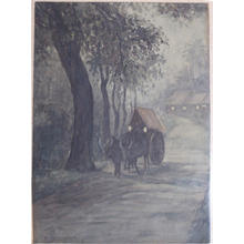 朝井清: Ox Cart at Night - Japanese Art Open Database