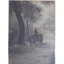Asai Kiyoshi: Ox Cart at Night - Japanese Art Open Database