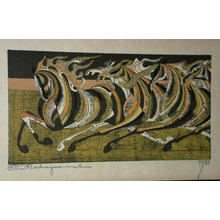 Nakayama Tadashi: five horses running - Japanese Art Open Database