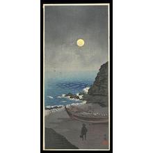 Narazaki Eisho: Traveler on Moonlit Shore - Japanese Art Open Database