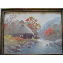 Niimi S: Hut by river in autumn - Japanese Art Open Database