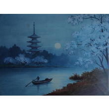 Niimi S: River and Pagoda under a Spring Moon - Japanese Art Open Database