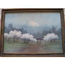 Niimi S: Sakura and torii by Fuji - Japanese Art Open Database
