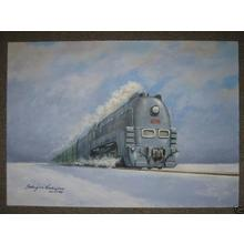 Nishijima Takejiro: Steam train in snow - Japanese Art Open Database