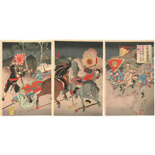 Watanabe Nobukazu: Crossing the Yalu river our forces attack the Peking castle - Japanese Art Open Database