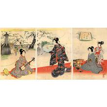 Watanabe Nobukazu: Enjoying the blossoms at Mukojima - Japanese Art Open Database