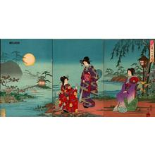 Watanabe Nobukazu: Beauties Viewing Moon - Japanese Art Open Database