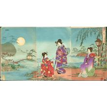 渡辺延一: Beauties Viewing Moon - Japanese Art Open Database