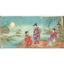 Watanabe Nobukazu: Beauties Viewing Moon - Japanese Art Open Database