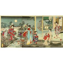 Watanabe Nobukazu: Beauties strolling in an evening garden viewing fireflies — 美人蛍乃遊園 - Japanese Art Open Database