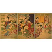 渡辺延一: Palace Ladies in Waiting - Sericulture Scene — 大奥美人養蚕之図 - Japanese Art Open Database