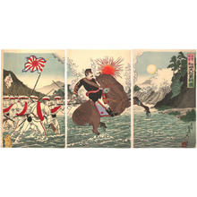 渡辺延一: Picture of the courageous fight of Captain Matsusaki during the Song-hwan battle - Japanese Art Open Database