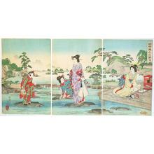 渡辺延一: View of Ladies in the Garden - Japanese Art Open Database