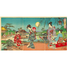 渡辺延一: Women at a moon-viewing in a garden - Japanese Art Open Database