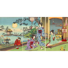 Watanabe Nobukazu: Ladies playing musical instruments — Setsu gekka no Uchi - Japanese Art Open Database