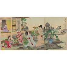 Watanabe Nobukazu: Comparison of flowers, the daily life of the east — 花くらべ東風俗 - Japanese Art Open Database