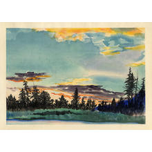 Obata Chiura: Evening Glow at Lyell Fork, Tuolumne Meadows - Japanese Art Open Database