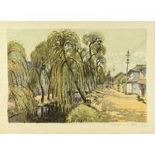 Oda Kazuma: A willow tree in Niigata - Japanese Art Open Database