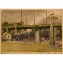 Oda Kazuma: Gotanro - A Suburban Elevated Train - Japanese Art Open Database
