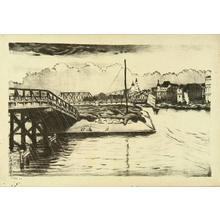 織田一磨: Distant view of Tenjin Bridge - Japanese Art Open Database