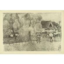 織田一磨: View of Yotsuhashi in rain - Japanese Art Open Database