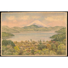 Ozawa J R: Town by Lake Near Mt Fuji - Japanese Art Open Database
