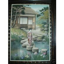 Saito Hodo: Bijin in Japanese garden - Japanese Art Open Database