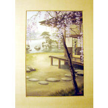 Saito Hodo: Bijin viewing garden pond in spring - Japanese Art Open Database