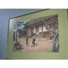 Saito Hodo: Old couple tidying the garden - Japanese Art Open Database