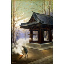 Saito Hodo: The Shrine- burning leaves - Japanese Art Open Database