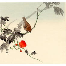 静湖: Sparrow and Morning Glory - Japanese Art Open Database