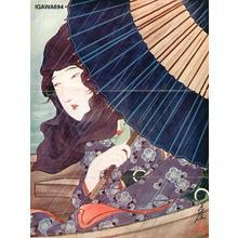 Sengai Igawa: Bijin on pleasure boat in rain storm - Japanese Art Open Database